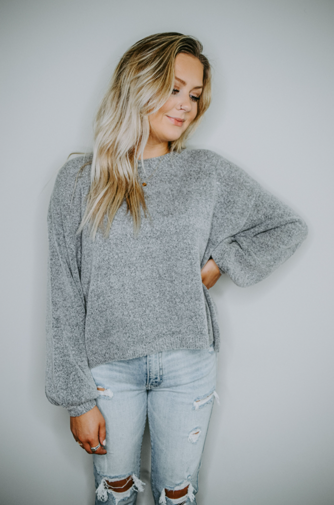 Lottie Knit Balloon Sleeve Sweater