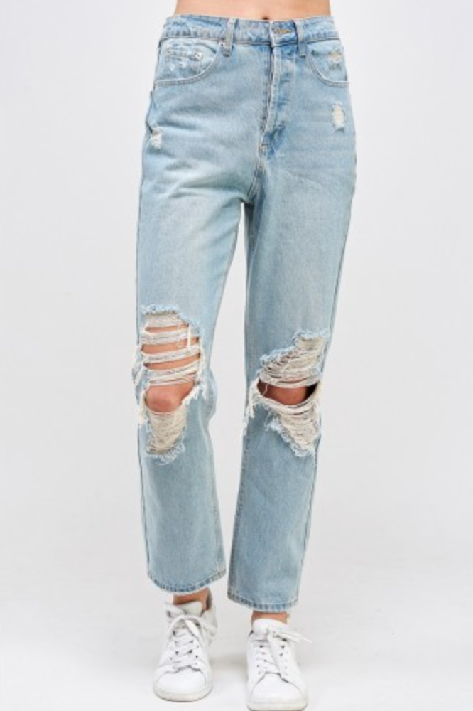 Mickey Distressed Boyfriend Jeans