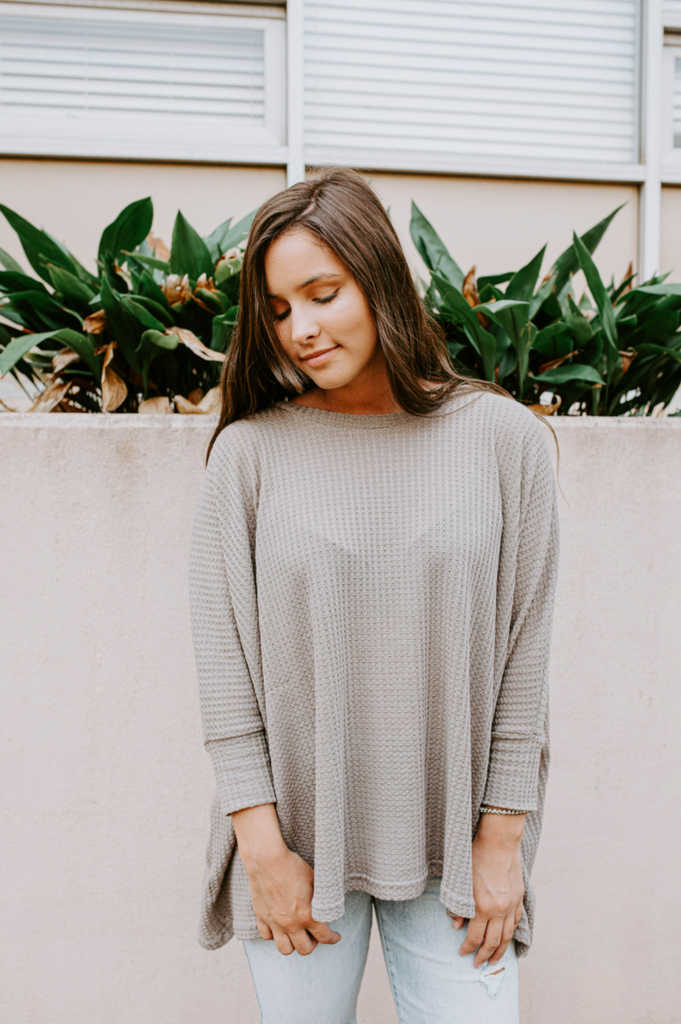 Slouchy High Low Waffle Knit Top