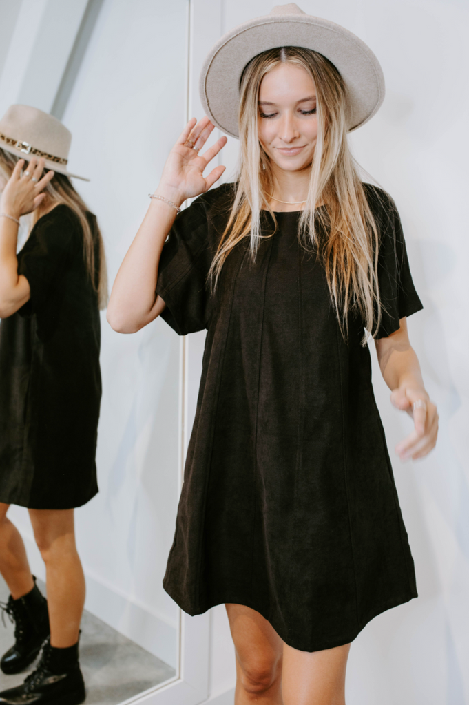 black corduroy dress