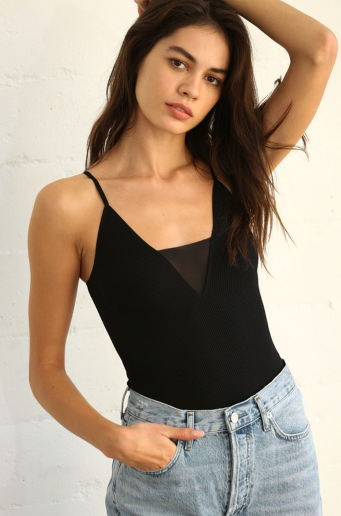 black ribbed cami