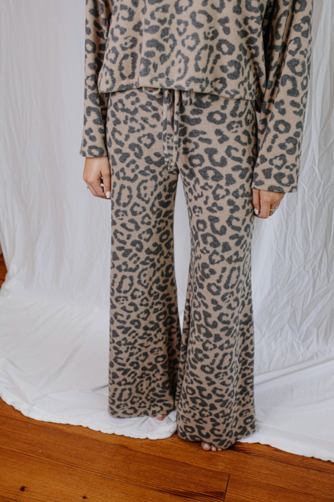 Knit Leopard Flared Lounge Pants