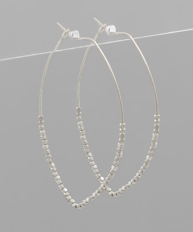 Half Beaded Marquise Hoops
