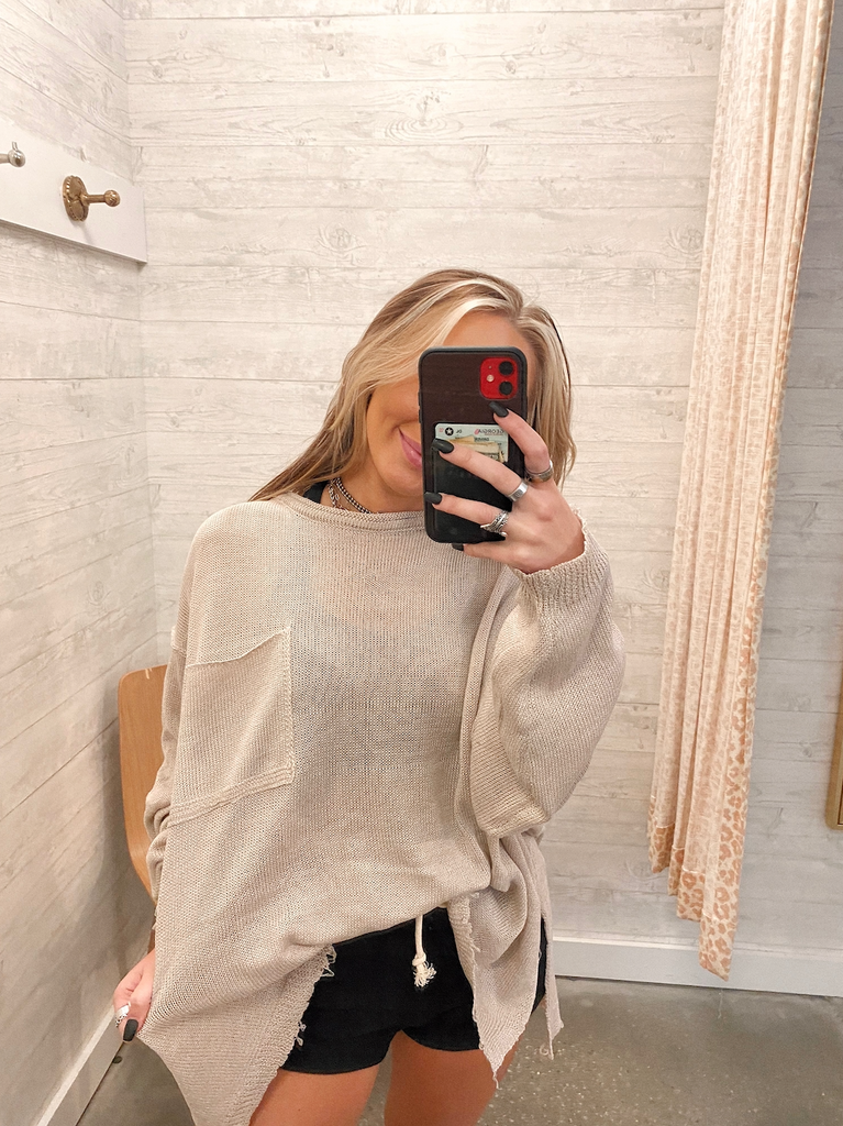Raw Hem Oversized Sweater