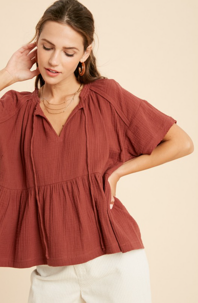 Cotton Ruffle Hem Top