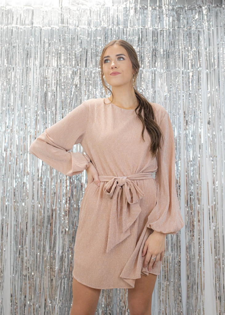 Alice Metallic Long Sleeve Dress