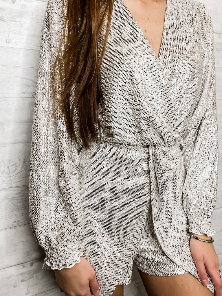Gatsby Long Sleeve Sequin Romper