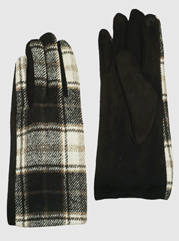 plaid suede gloves