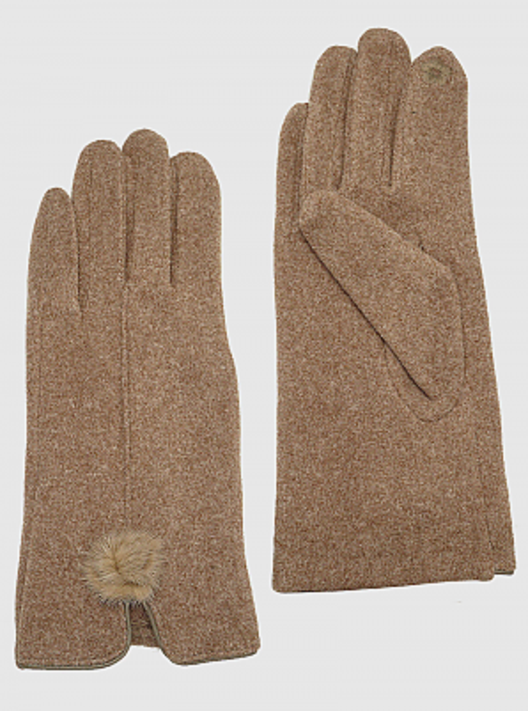 Suede Touchscreen Pom Pom Gloves