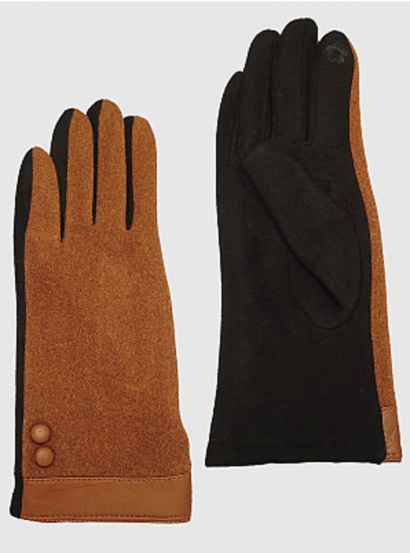 Two Tone Suede Touchscreen Gloves