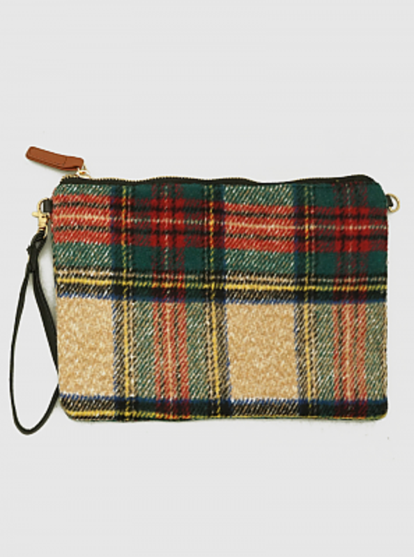 Plaid Faux Fur Wristlet Bag