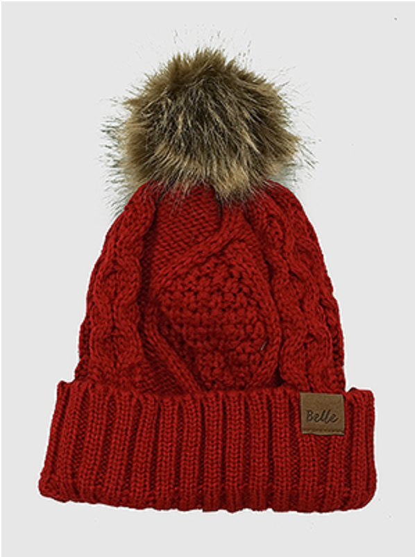 Fleece Lined Knit Pom Pom Beanie