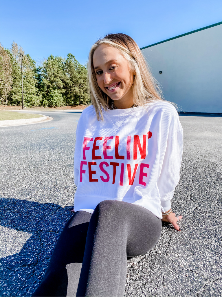 Feelin' Festive Cropped Corded Sweatshirt