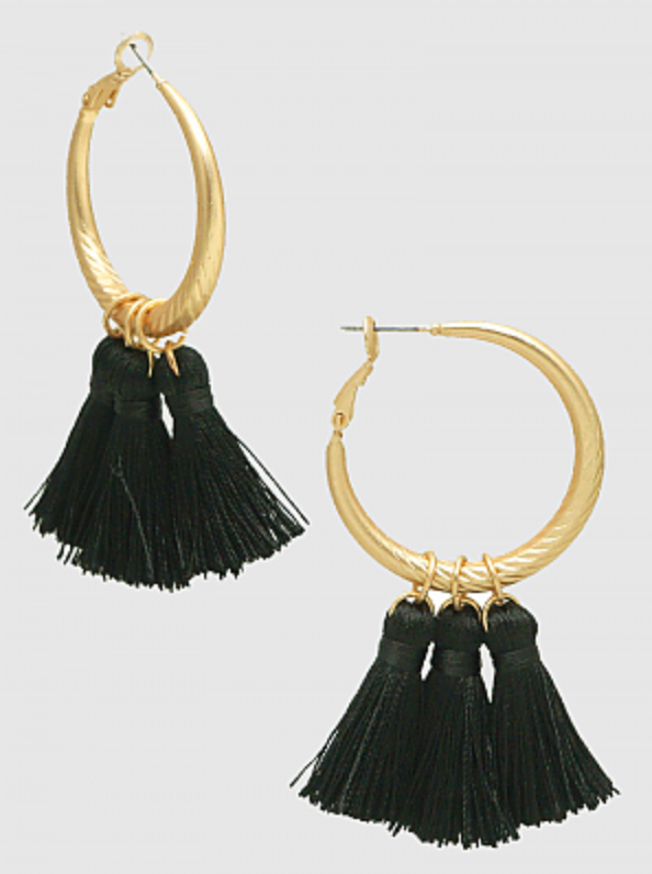 30MM Textured Hoop with Drop Tassel