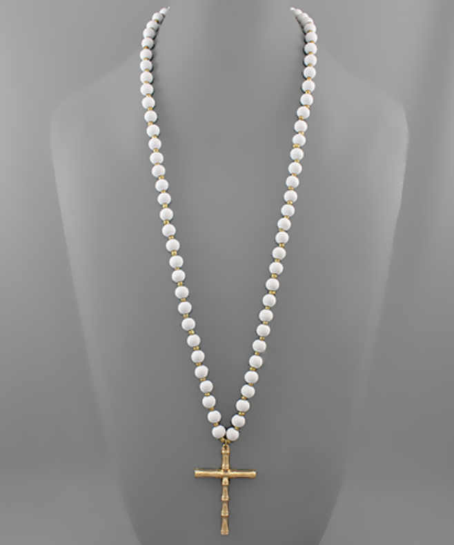 Long Bamboo Cross Necklace
