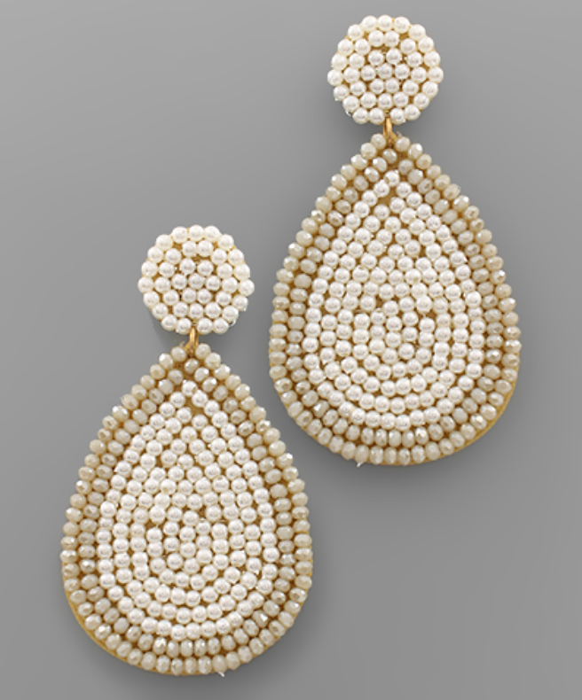 Beaded Teardrop Statement Earrings