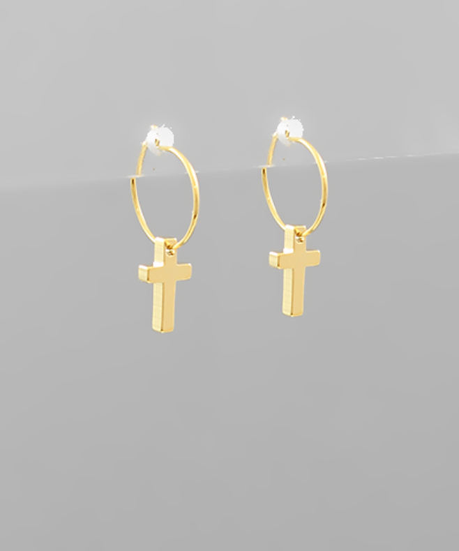 Cross Charm Mini Hoops