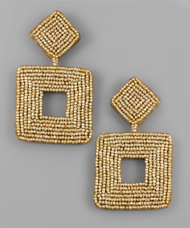 Square Beaded Statement Earrings