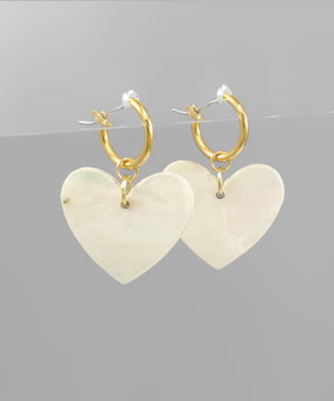 Heart Shell Dangle Earrings