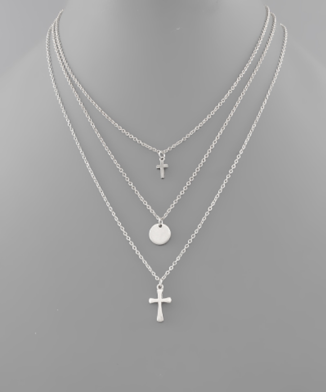 Cross & Disc Layer Necklace