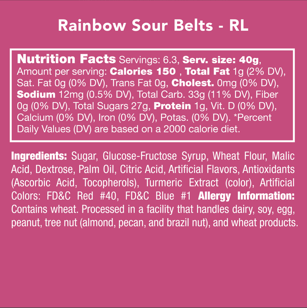 Candy Club Rainbow Sour Belts