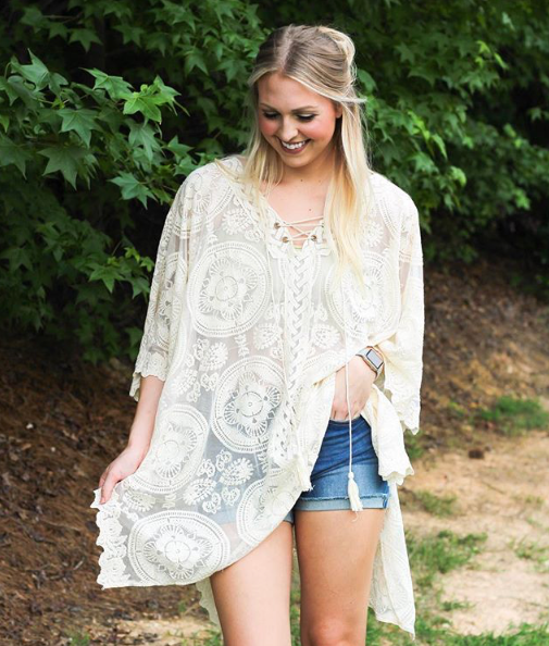 Medallion Sheer Lace Poncho