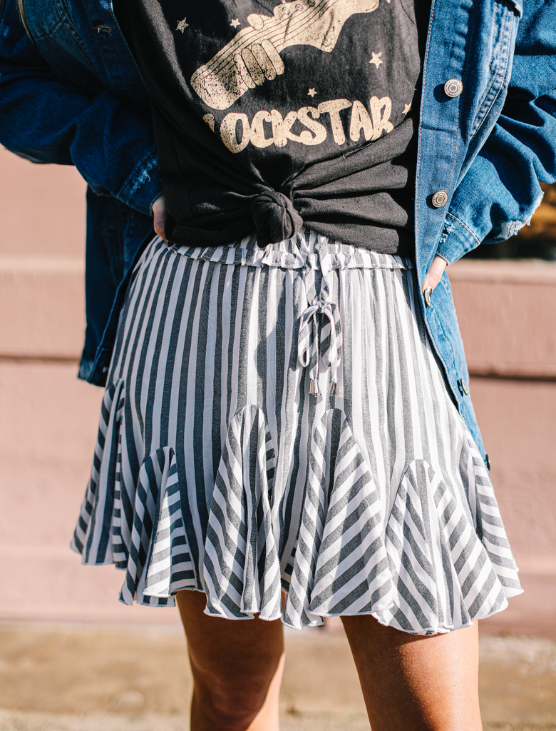 Playful Striped Pull on Skirt