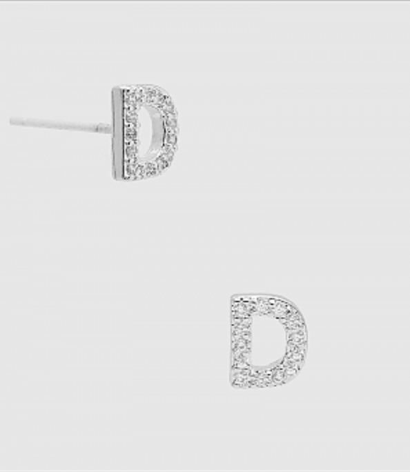 CZ Initial Stud Earrings