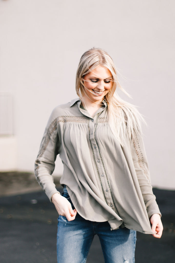 Lace Trimmed Button Down Shirt