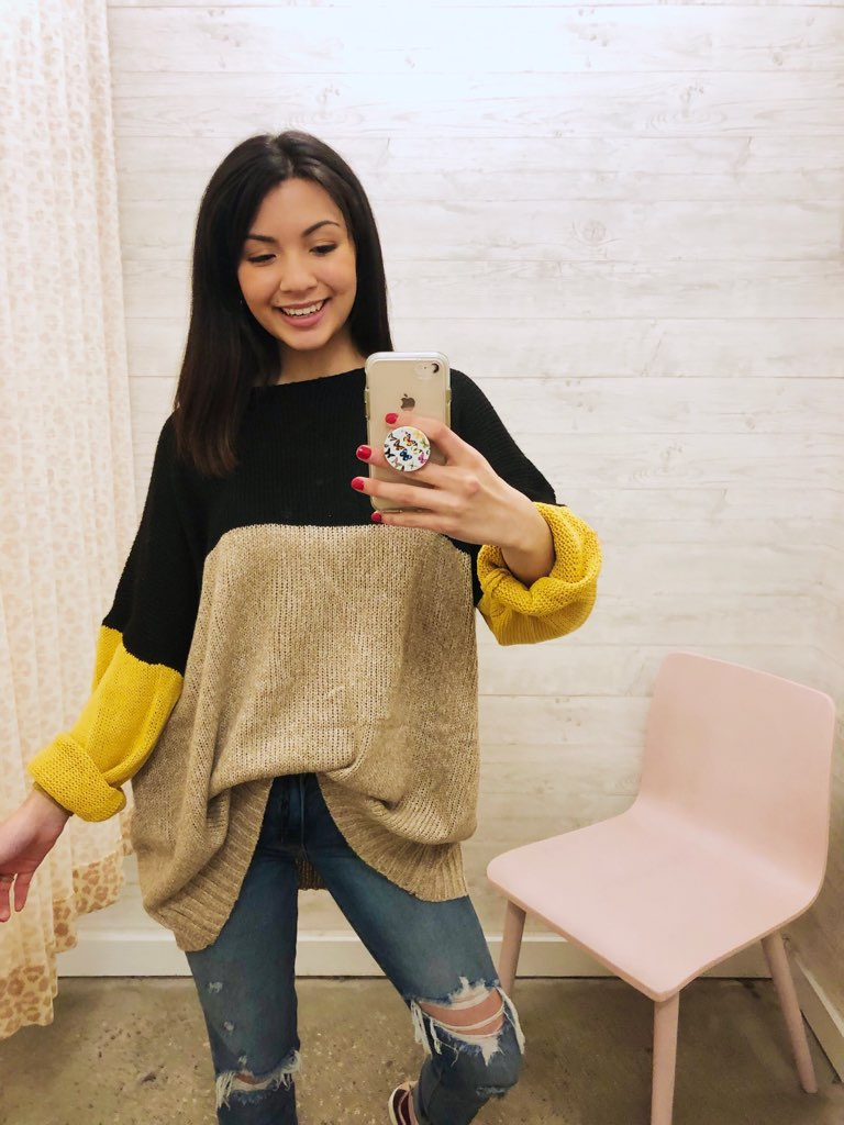 Color Block Marble Knit Sweater