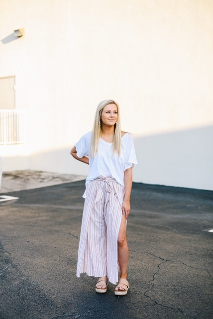 Stripe High Waist Wide Leg Pants