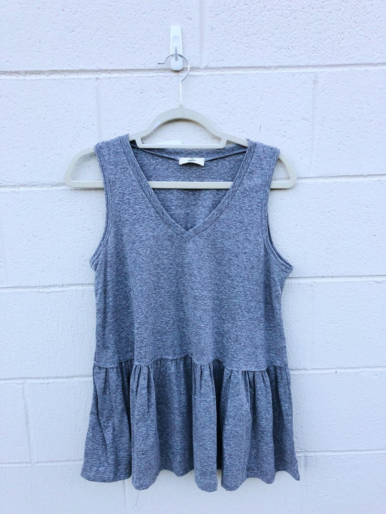 V Neck Heathered Peplum Tank