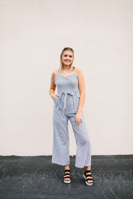 Striped Strappy Bow Jumpsuit