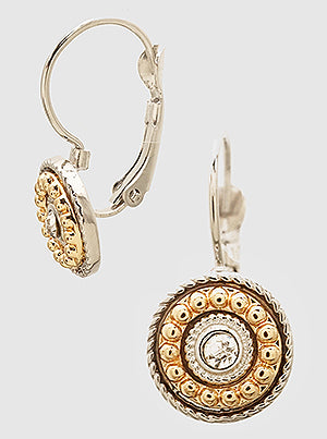 Crystal Ornated Round Leverback Clip Earrings