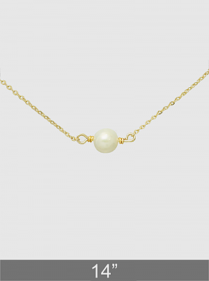 Cultured Pearl Metal Choker Necklace