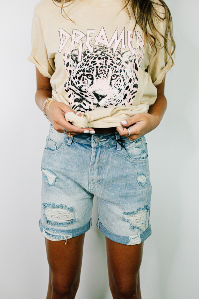 distressed mom shorts