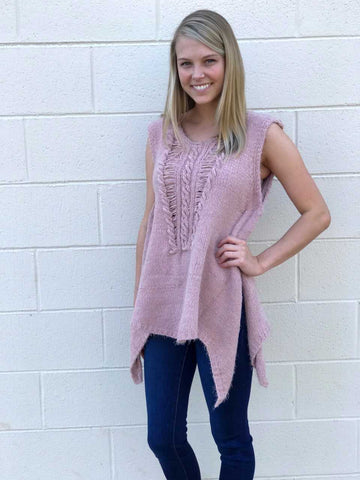 Distressed Sleeveless Sweater