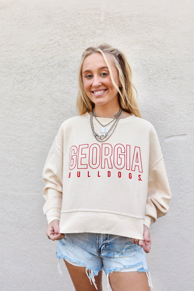 cropped corded sweatshirt