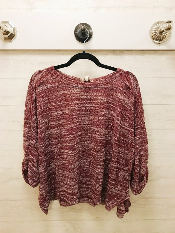 3/4 Rolled Sleeve Heathered Top