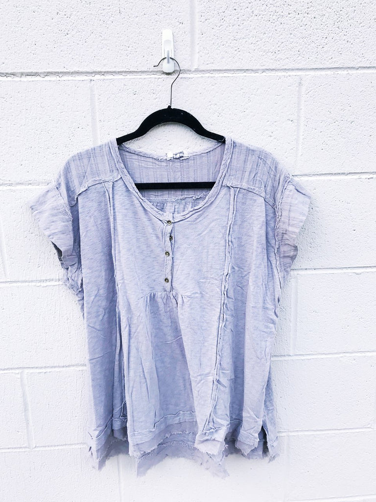 Raw Edge Button Up Top