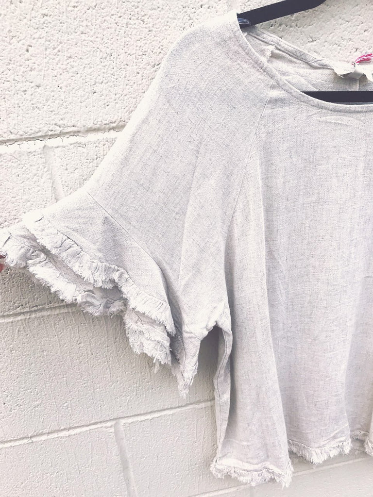 Linen Layered Ruffle Sleeve Top