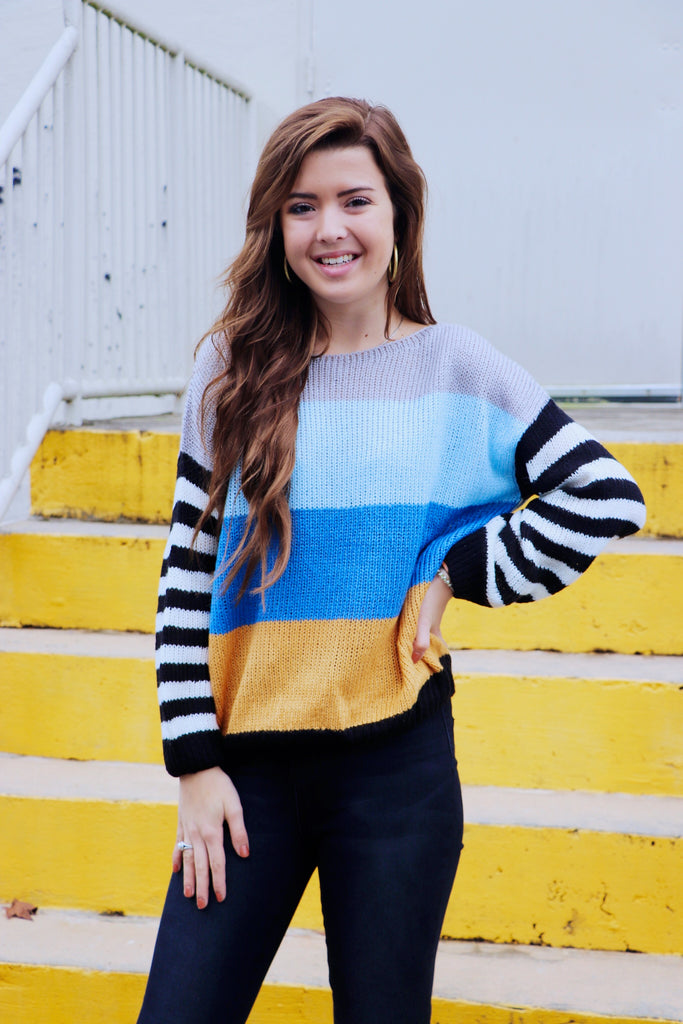 Stripe Contrast Sleeve Sweater