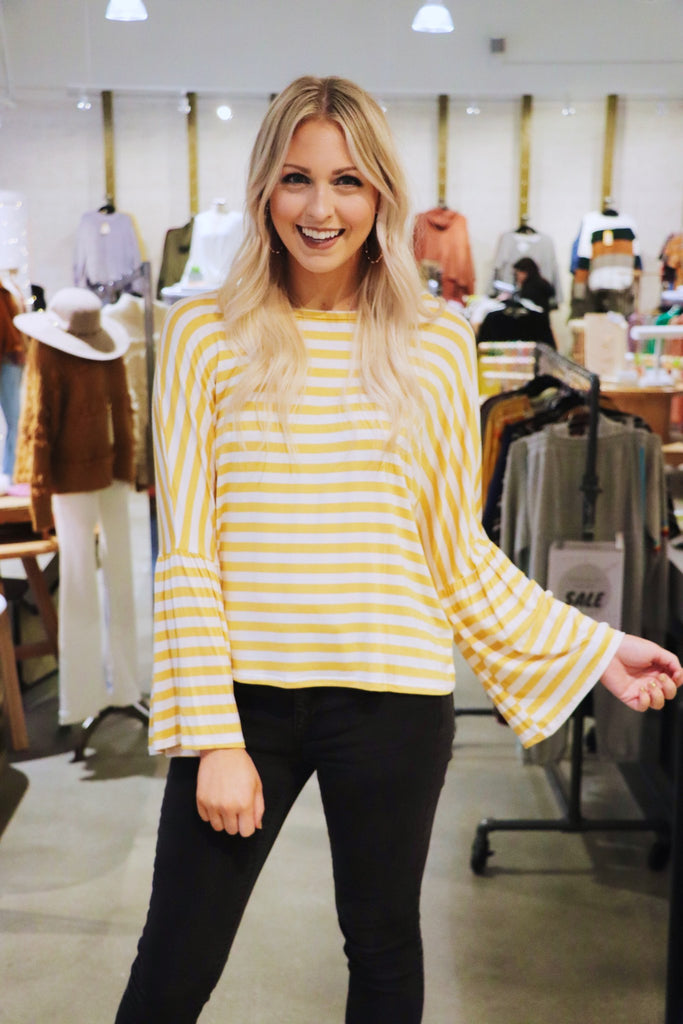 Jersey Stripe Wide Sleeve Top