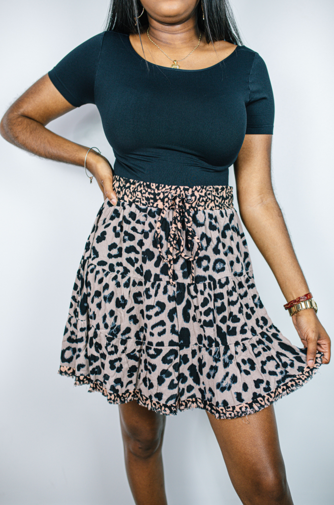 Layered Leopard Ruffle Skirt