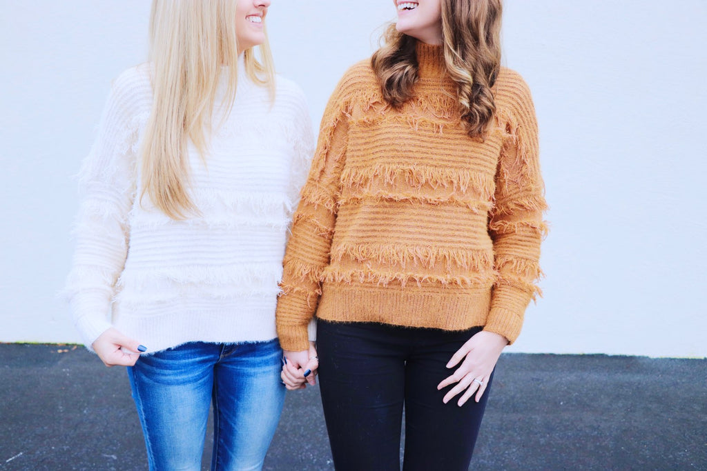 Mock Neck Soft Fringe Sweater