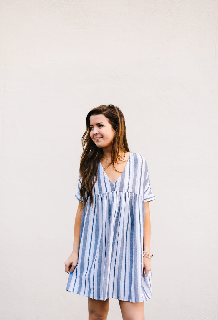 Striped Flowy Babydoll Tunic