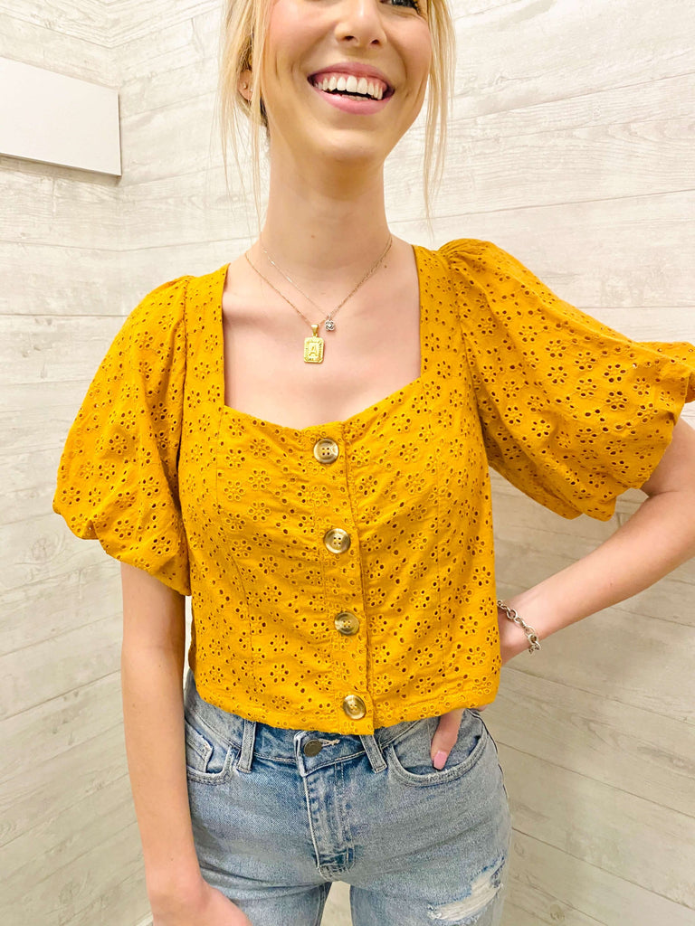 eyelet lace smock top