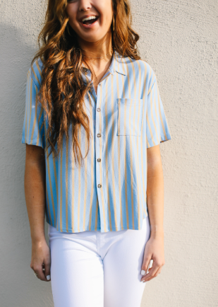 Stretchy Stripe Collar Top