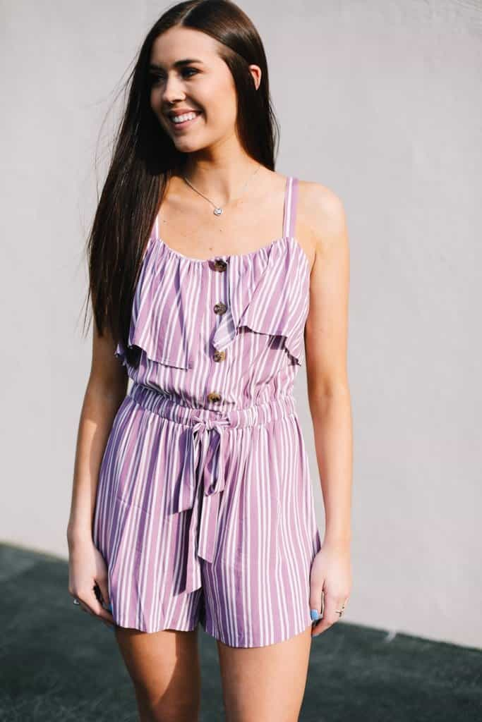 Striped Ruffle Front Romper