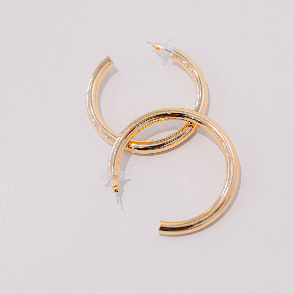 Thick Gold Tube Hoops